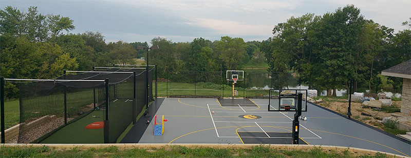Multi-Sport Backyard Court and Batting Cage from Sport Court
