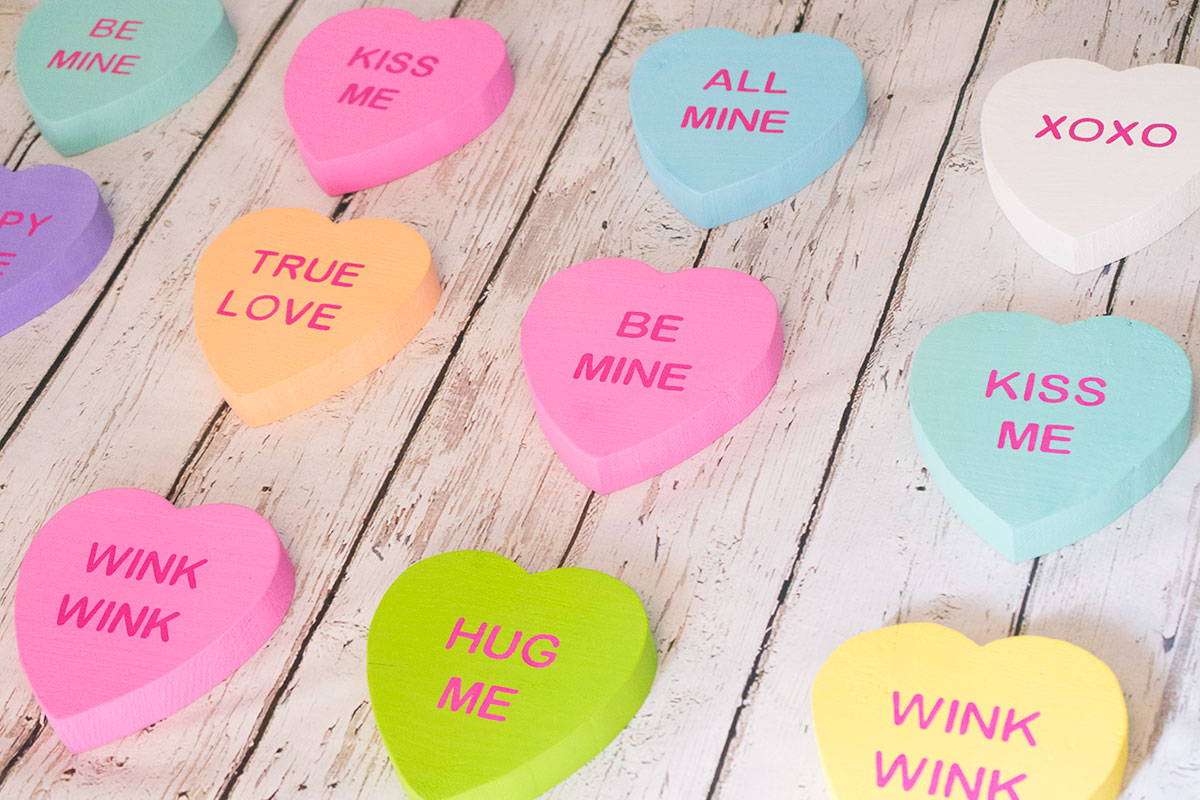 Conversation heart decorations