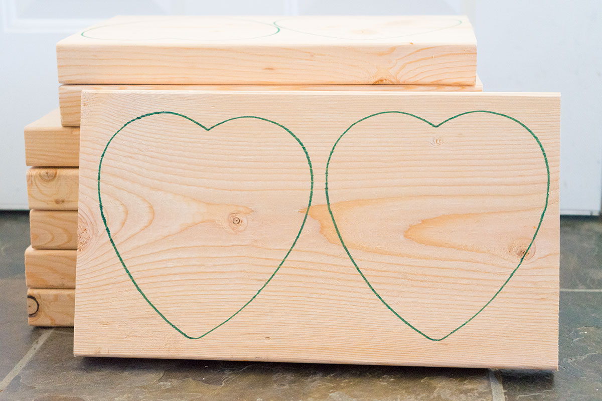 Conversation heart traced wood