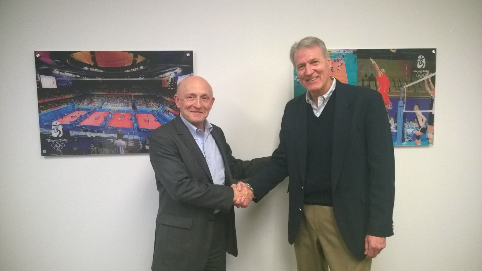 CEOs of Connor Sport Court and Gerflor Shake Hands After Inking Partnership