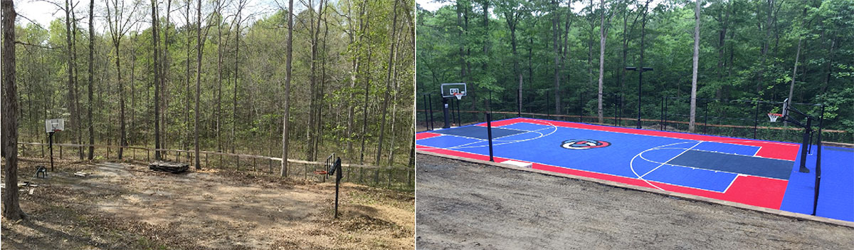 An old asphalt court that was being reclaimed by the earth was revitalized and upgraded to a Full Court Sport Court !