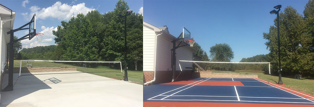 New Sport Court installed behind a garage.  This court is ready for Basketball & Badminton, complete with LED lights for night play !