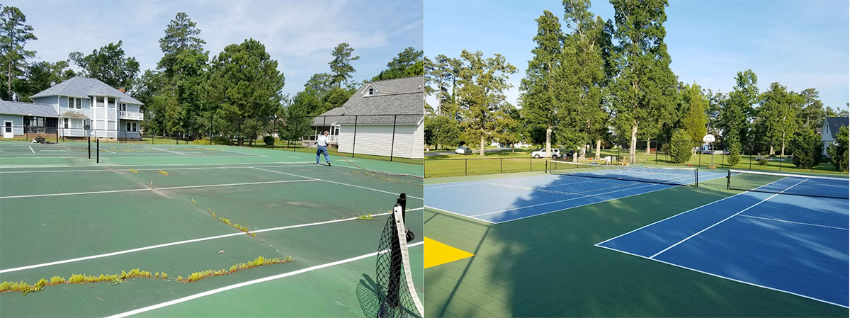 Asphalt Tennis court in need of repairs, Upgraded to a maintenance free Sport Court tennis court.  NO MORE CRACKS!