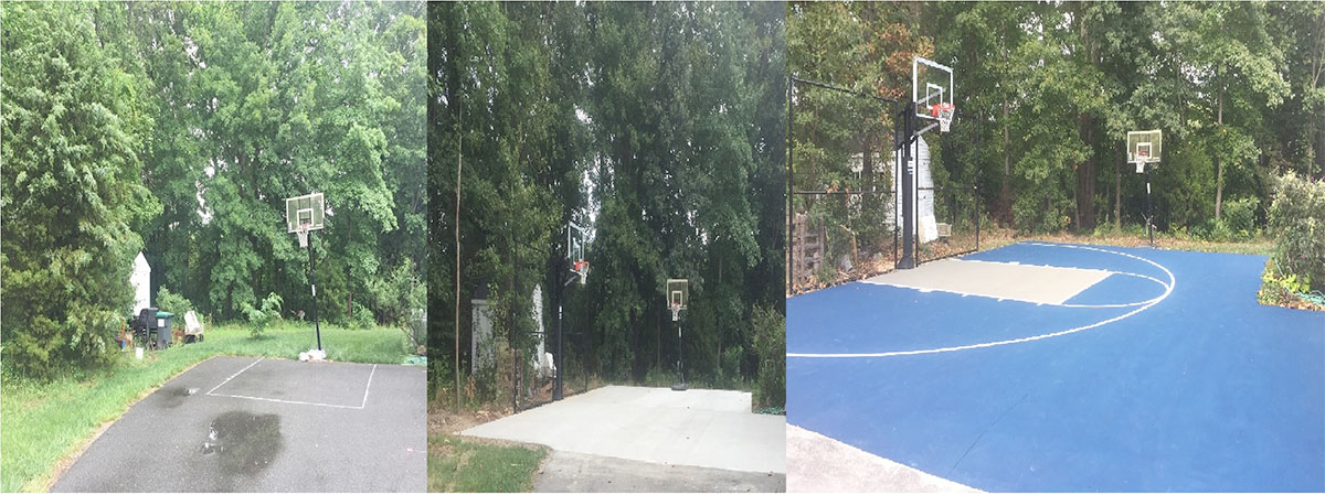 Asphalt Driveway removed & replaced with Concrete in a wider and longer section with an Acrylic Coating.