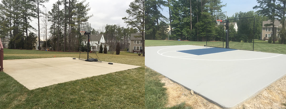 30' x 30' court expanded to 50'wide, New Hoop and Ball Containment netting and a New Acrylic Coating - Outdoor basketball Court