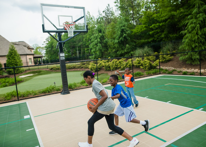 Backyard Basketball Court with Outdoor Basketball Court Flooring by Sport Court