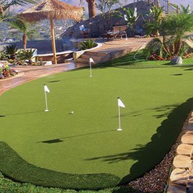 Home putting greens with Sport Court Synthetic Grass
