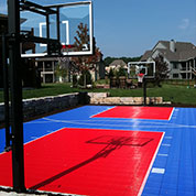 Backyard Basketball Court in Red and Blue