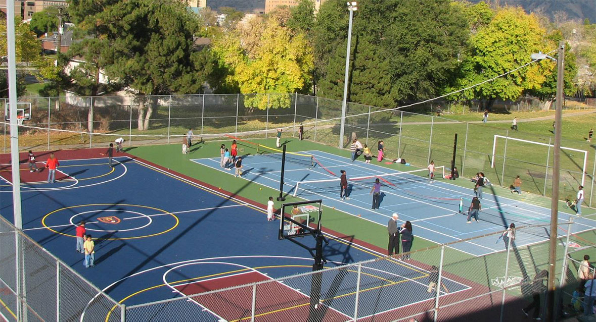 Multi sport court builders backyard court installation for Indoor basketball court installation