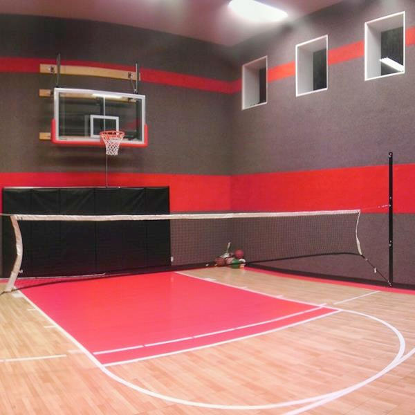 Family sport courts convenient backyard courts for How much would an indoor basketball court cost