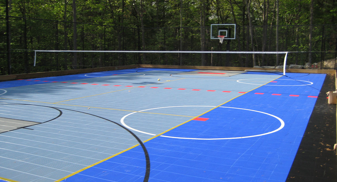 Massachusetts home tennis court & basketball court