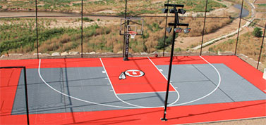 Sport Court Backyard Custom Basketball Court with University of Utah logo