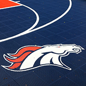 Custom Logo Athletic Surfaces - Bronco Logo Basketball Court