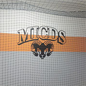 indoor batting cage with net and custom wall decal
