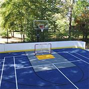 outdoor backyard court with roller hockey panels